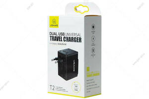 Унивесальная зарядка USB Usams Universal Travel Charger (US/AU/EU/UK) US-CC044 T2, черный
